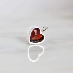 Image of Madagascar Red/Brown Garnet heart shape diamond cut silver necklace
