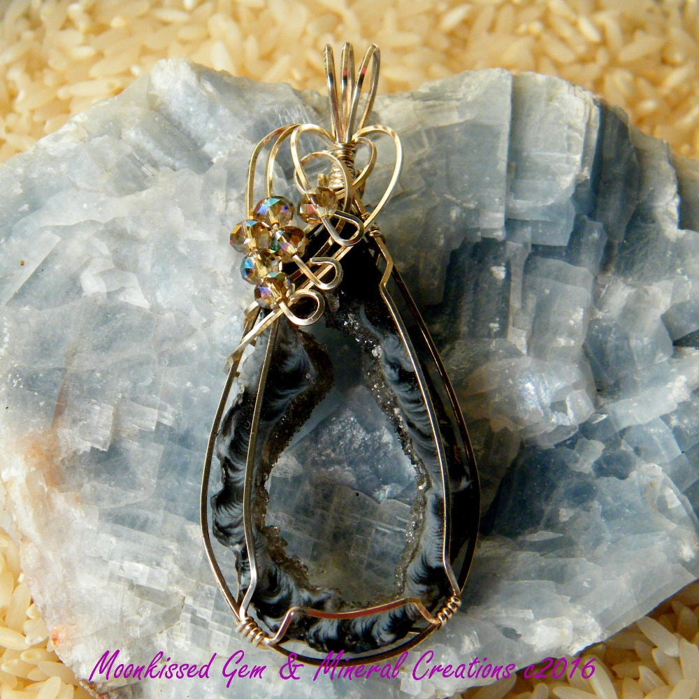 Image of Geode Slice and Beaded Sterling Silver Wirewrapped Pendant