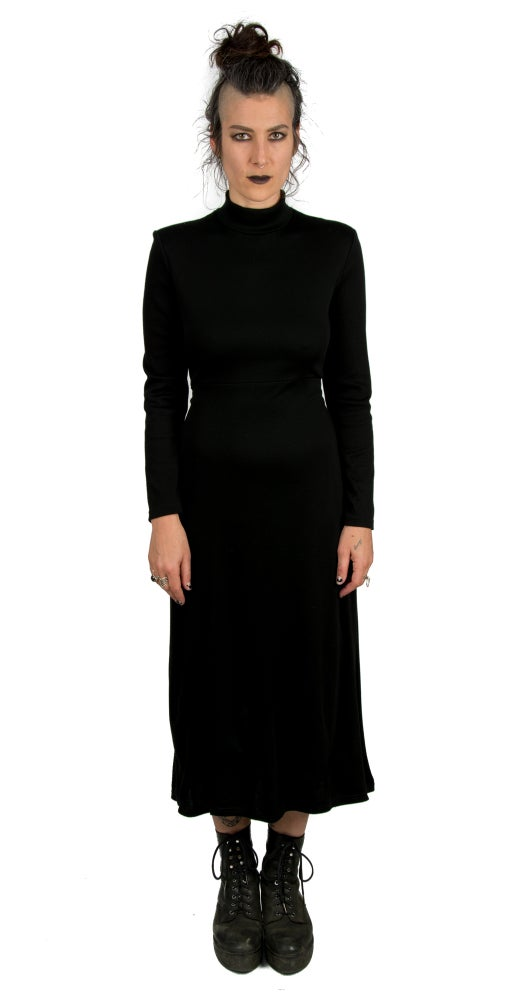 Image of Long Mock T-neck Dress