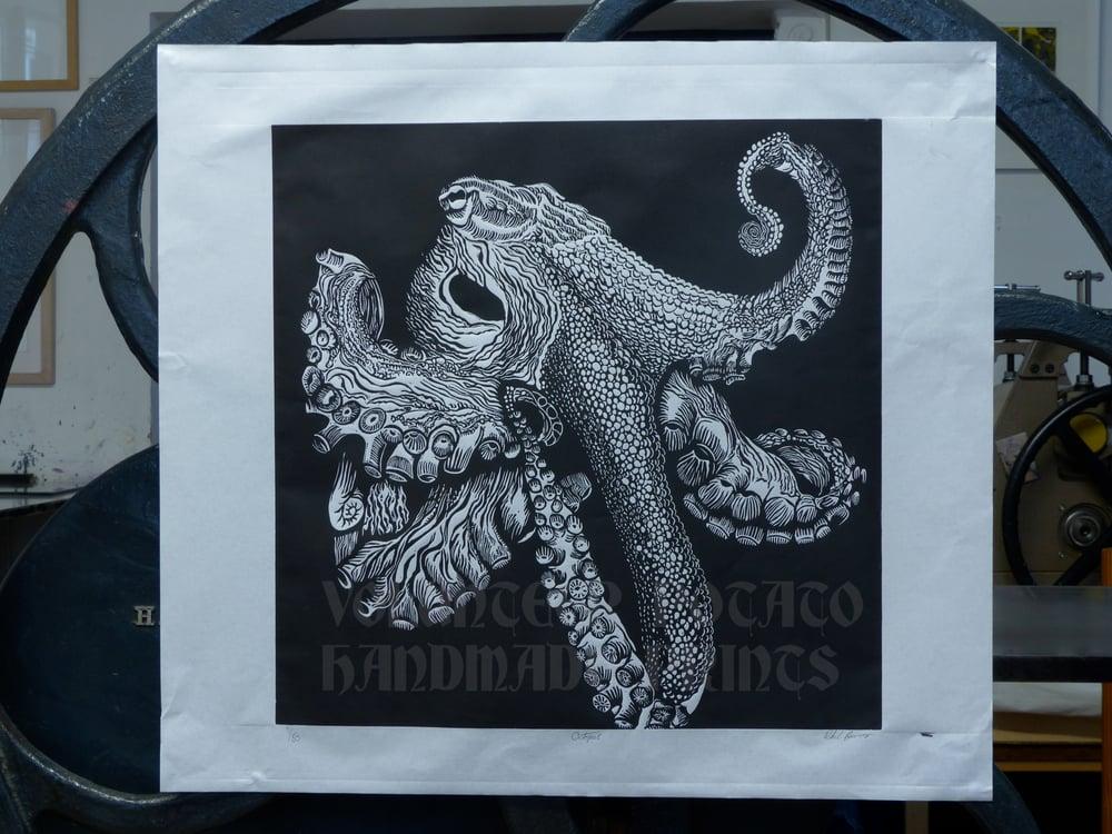 Image of Octopus linocut