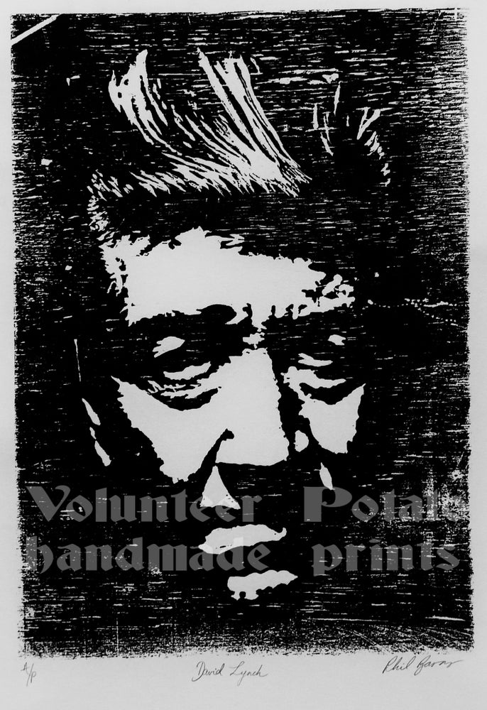 Image of David Lynch woodcut