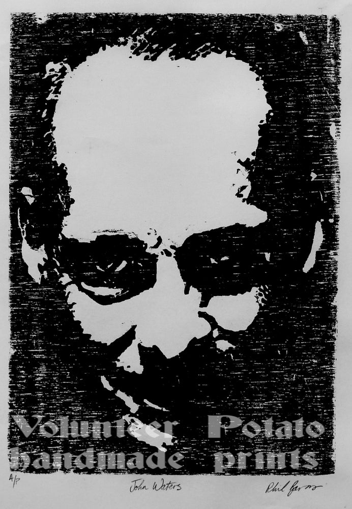 Image of John Waters woodcut