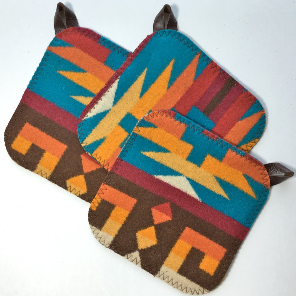 Image of Western Wool Pothholder - Turquoise Sunset