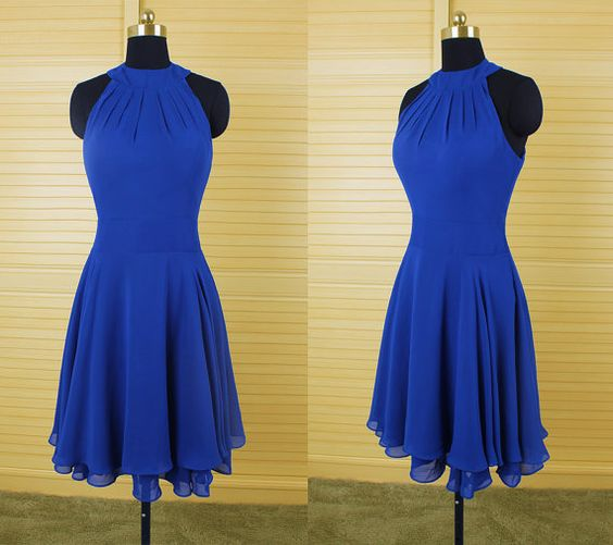 Beautiful Royal Blue Short Halter Homecoming Dresses , Short Prom Dresses