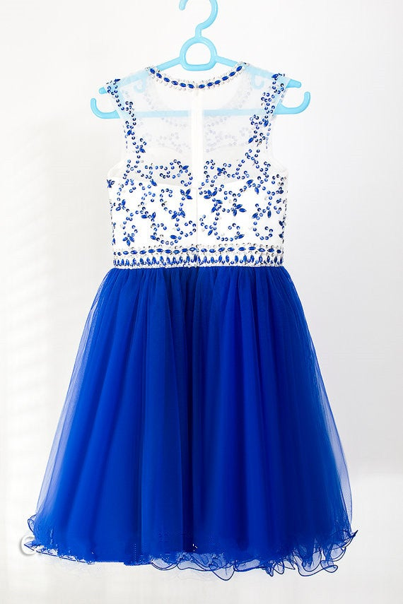 Cute Blue Beaded Tulle Short Homecoming Dresses, Short Prom Dresses, Party Dresses