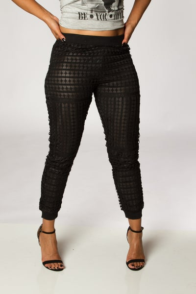 Image of Black Netted Overlay Pants