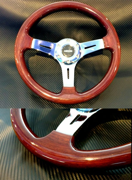 Image of NRG 330mm Wood Grain steering wheel