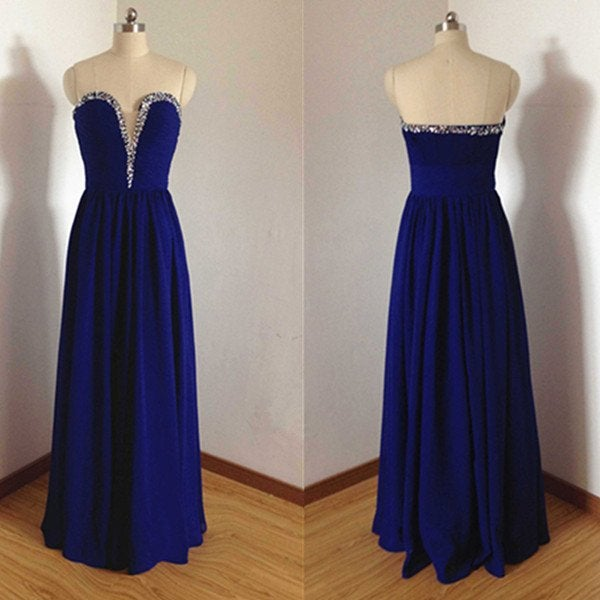 Simple Royal Blue Long Prom Gown 2017, Simple Evening Gowns, Party Dresses
