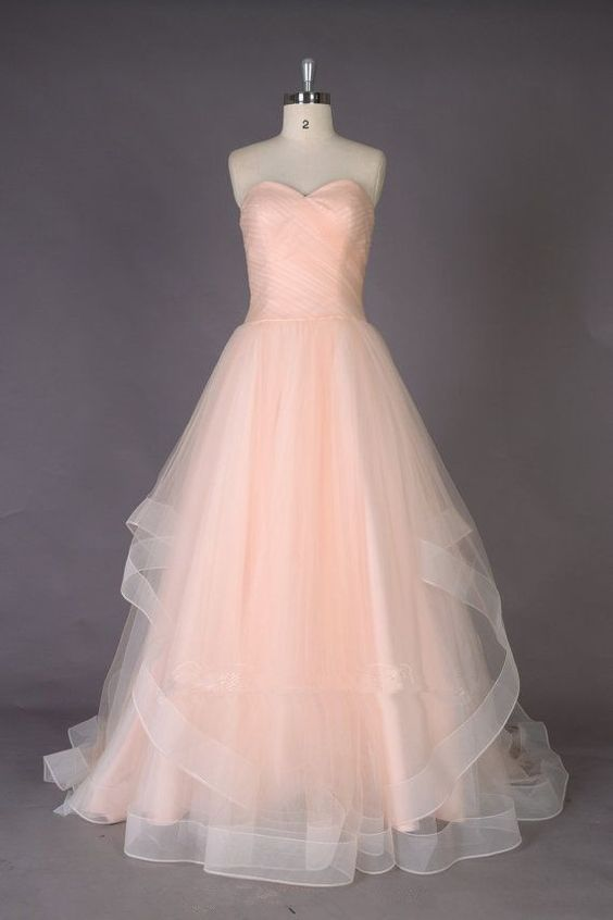 Lovely Handmade Peach Pink Long Tulle Prom Gowns 2017, Prom Dresses ...