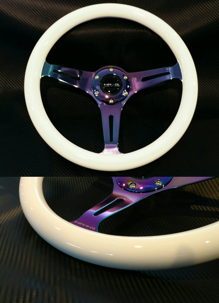 Image of NRG 350mm White steering wheel