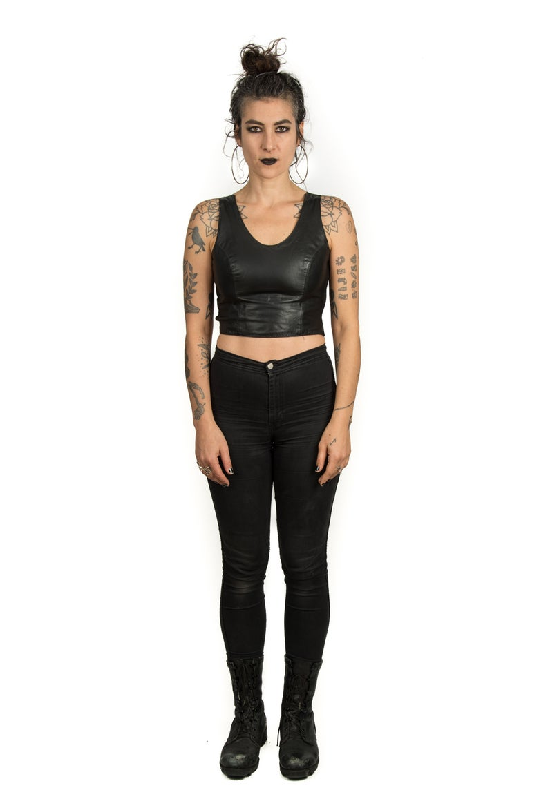 Image of Leather & Lace top