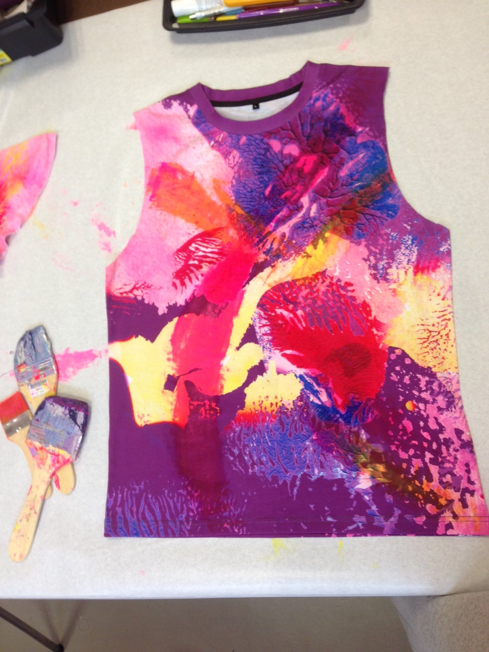 Image of Acid Bloom Printed Sleeveless T-shirt