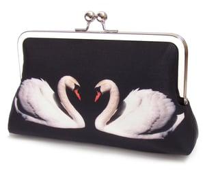 Two Swans -  original silk clutch bag - Red Ruby Rose
