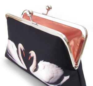 Image of White swans silk clutch bag