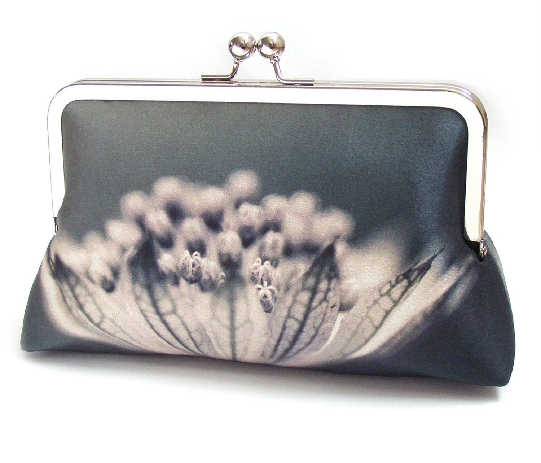 Image of Monochrome flower silk purse, clutch bag, petals, inky blooms