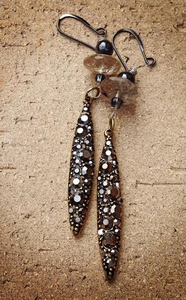 Image of Fit for a Fairy ~ Hematite and Rutilated Quartz Earrings