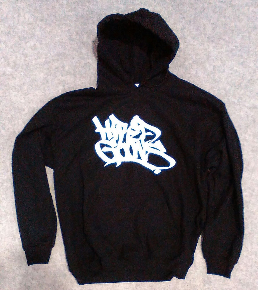 """Image of """"Hired Goons"""" O.G. Tag Hoodie. White on Black"""