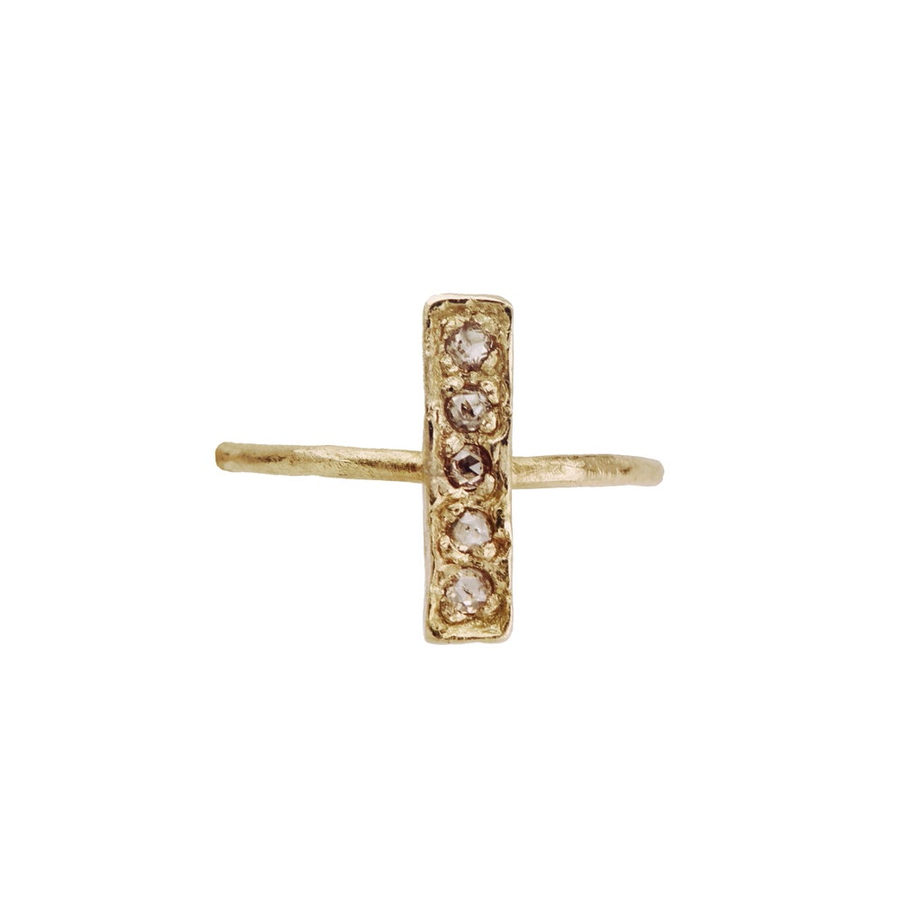 Image of Bar ring. Baby rose cut diamonds. 18k. Frankenstein.
