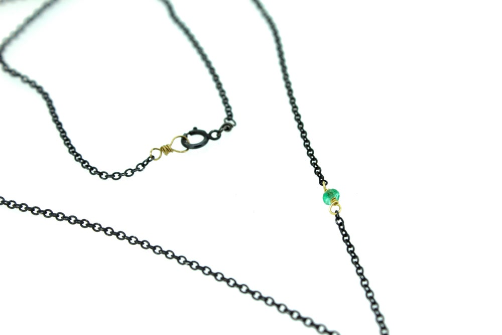 Image of om necklace with emerald