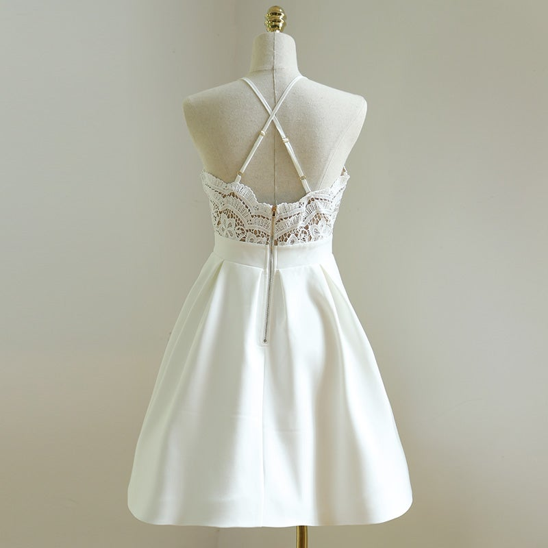Beautiful White Lace Straps Cross Back Summer Dresses in Stock
