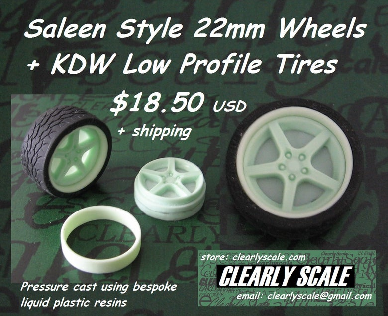 Image of Saleen Style 22mm Wheels + KDW Low Profile Tires Set