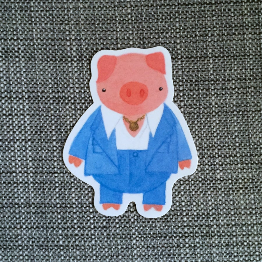 Image of disco pig vinyl sticker