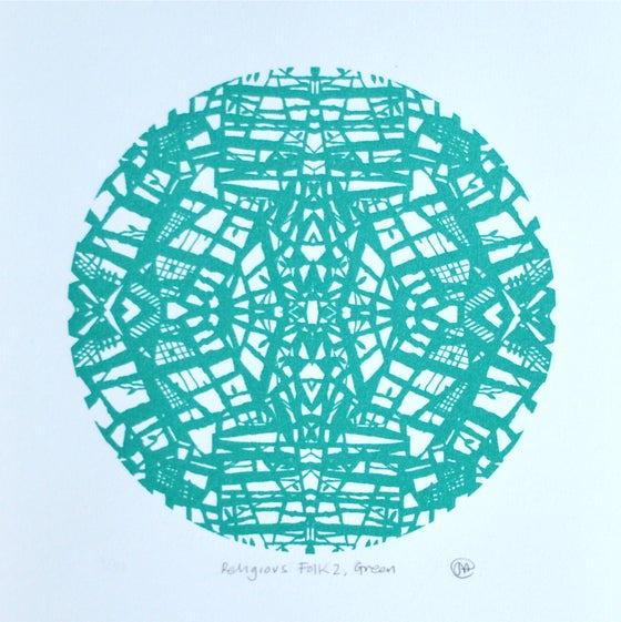 Image of 'Religious Folk 2, Green' Screenprint