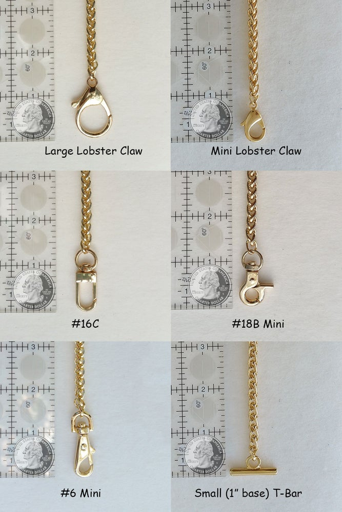 """Image of GOLD Chain Luxury Handbag Strap - Braided Chain - 1/4"""" (6mm) Wide - Choose Length & Hooks/Clasps"""