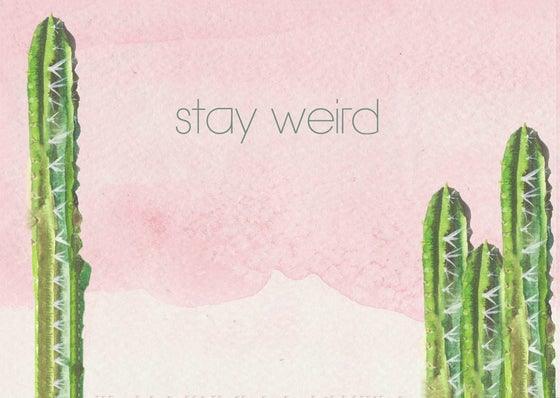"Image of Postcard cactus aquarel ""stay weird"""