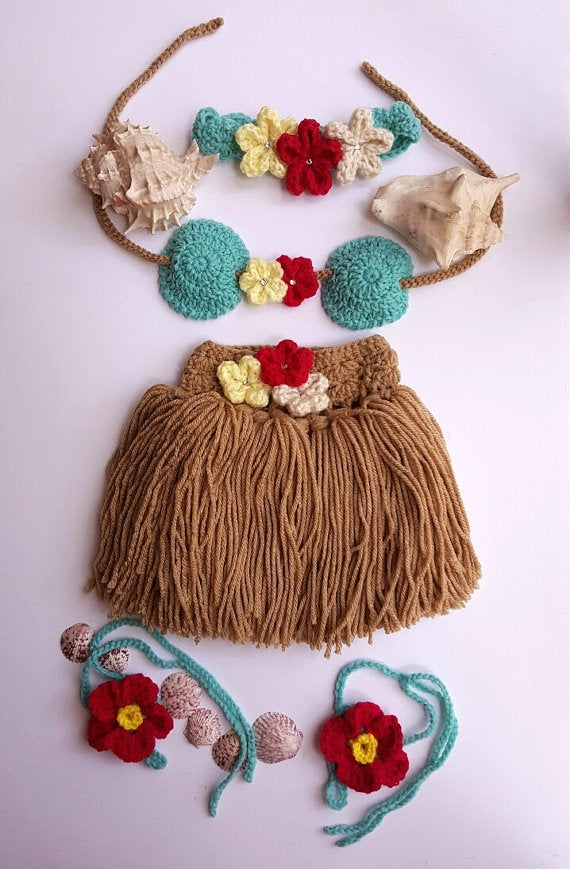 2a3dd2eb16e24 Image of Newborn Crochet Outfit - Baby's First Pictures - Hawaiian Hula Girl  - Handmade -