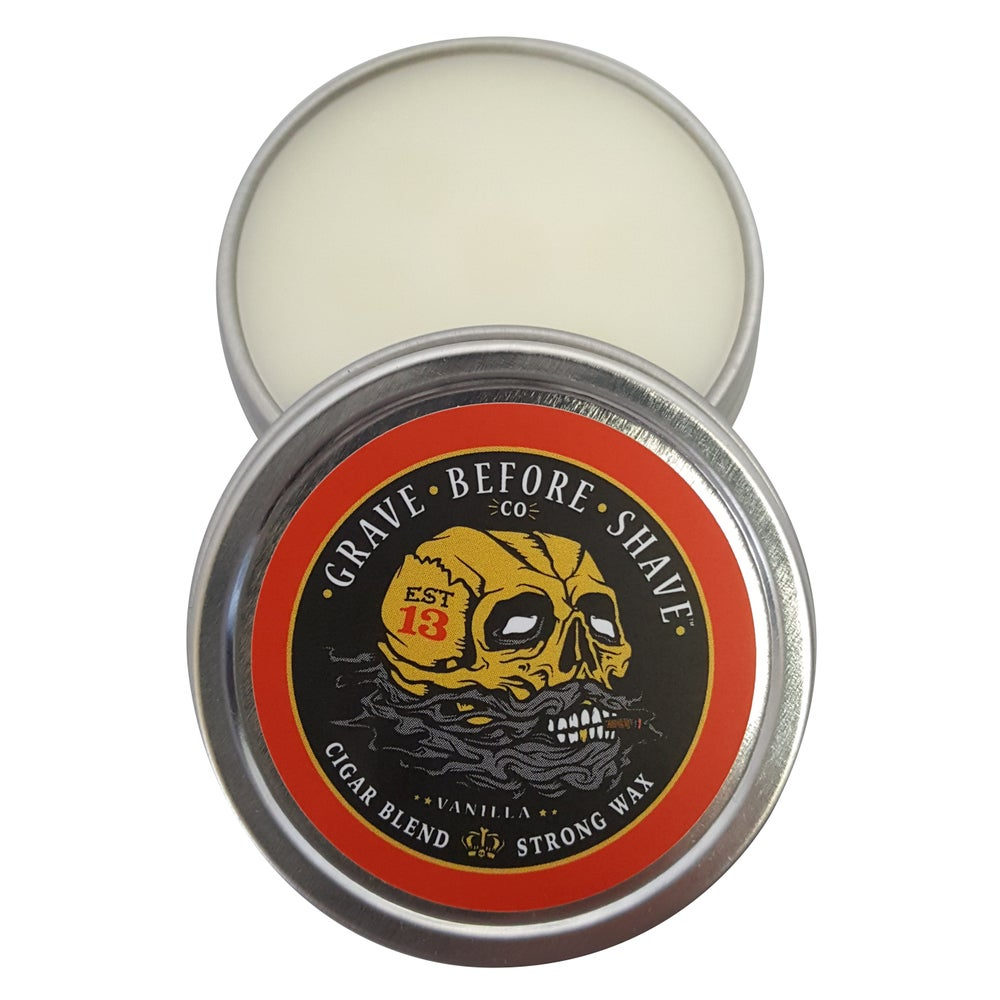 Image of Fisticuffs™  Cigar Blend Strong Hold Mustache Wax 1 OZ. Tin