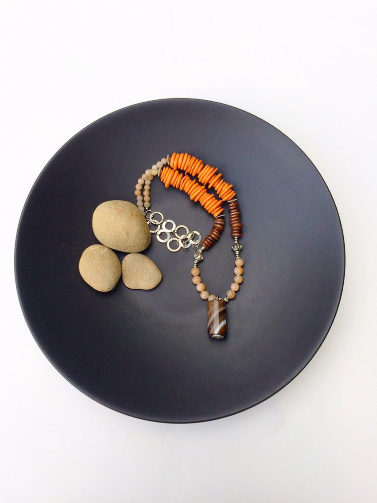 Image of Coral and Agate Tribal Necklace