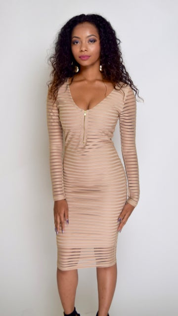 Image of Fitted Tan Open Front Slit  Dress