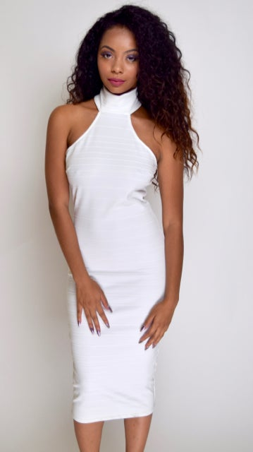 Image of Haltered Top White Fitted Dress