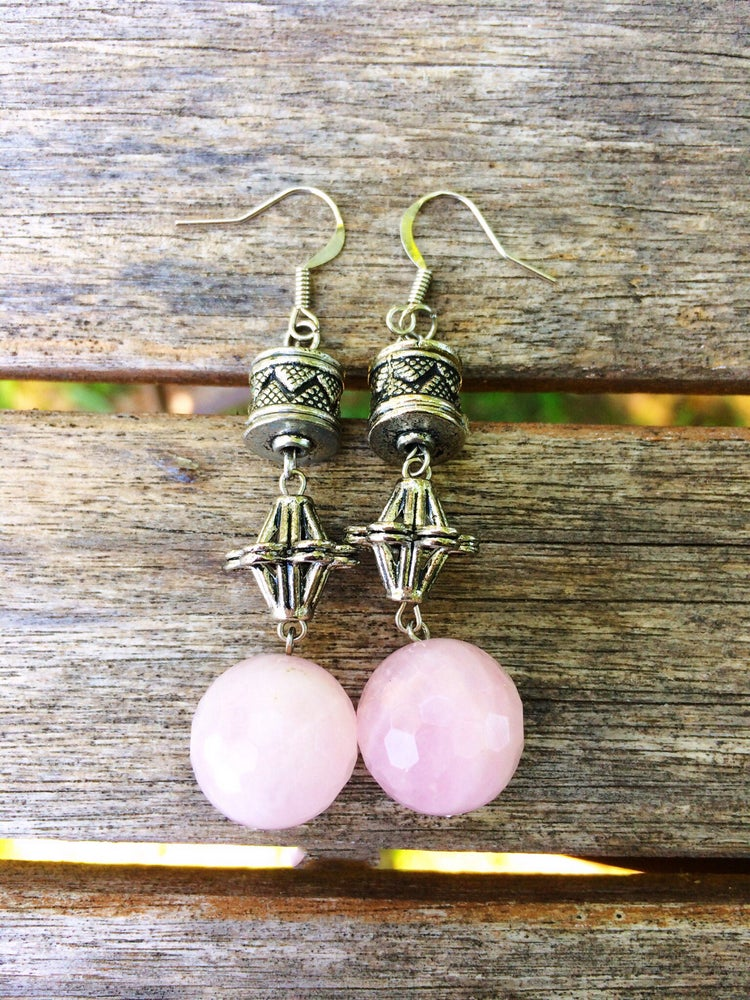 Image of Pink Quartz Flower Earrings