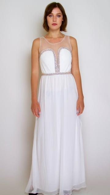 Image of Crystal Beaded White Dress