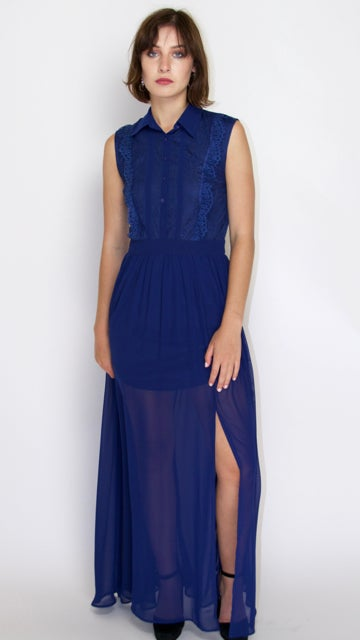 Image of Laced Back Navy Dress