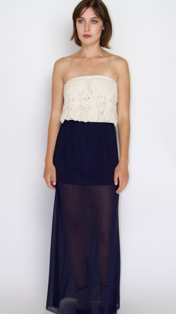 Image of Doily Inspired Top Pattern Ivory And Navy Blue Dress