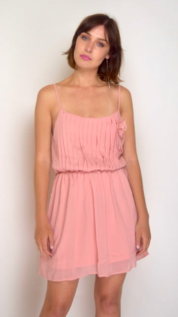 Image of Pleated Top Rose Pink Dress