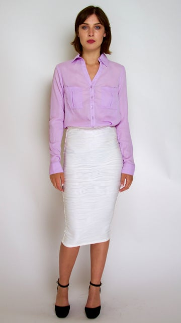 Image of White Pencil Skirt