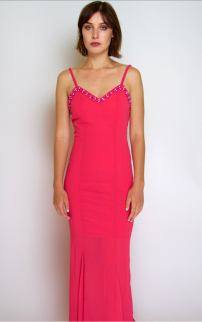 Image of beaded coral pink dress