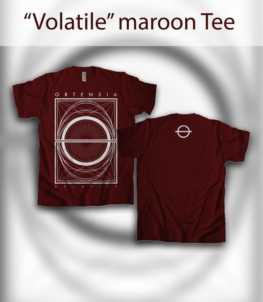 "Image of ""Volatile"" maroon Tee"