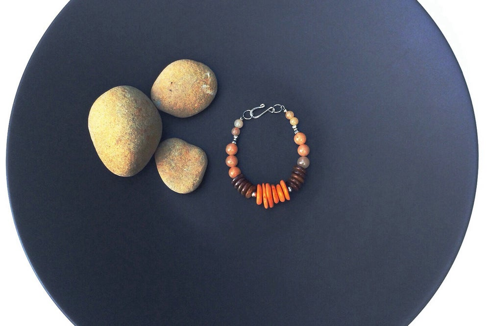 Image of Coral and Agate Tribal Bracelet