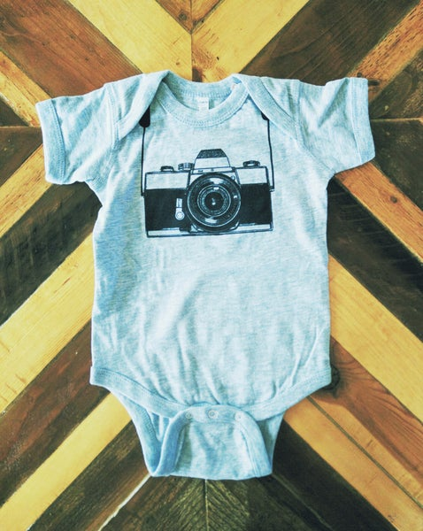 Image of Camera ) Infant Bodysuit ) Heather Grey