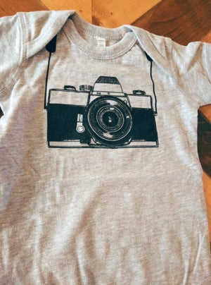Image of Camera ) Onesie ) Heather Grey
