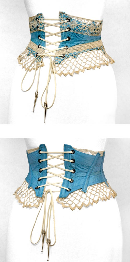 Image of Robins Egg Reversible Crochet Corset Belt