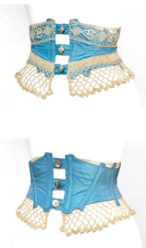 Image of Robins Egg Reversible Crochet Corset Belt