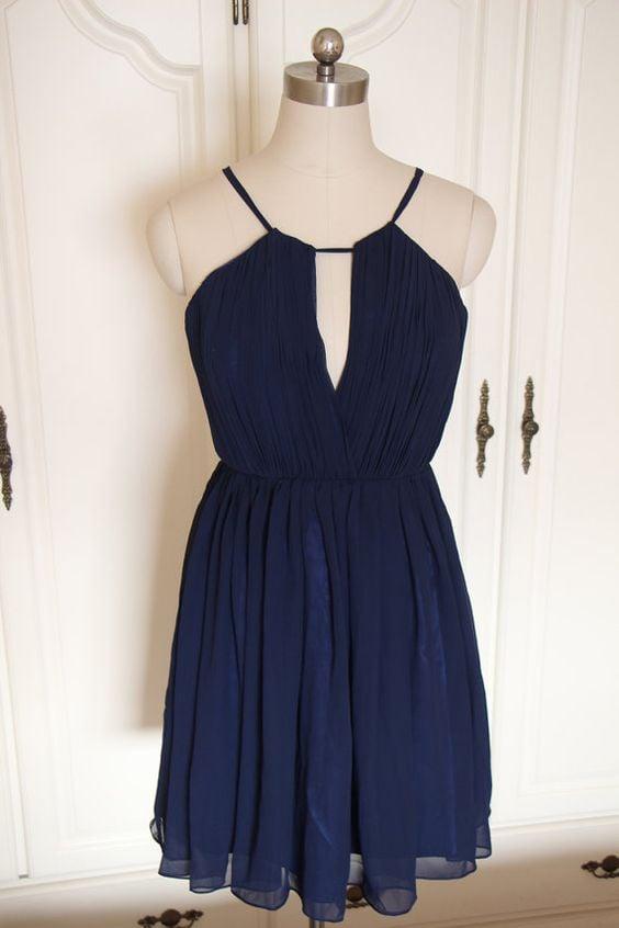 Lovely Short Chiffon Handmade Navy Blue Homecoming Dresses, Navy Blue Bridesmaid Dresses