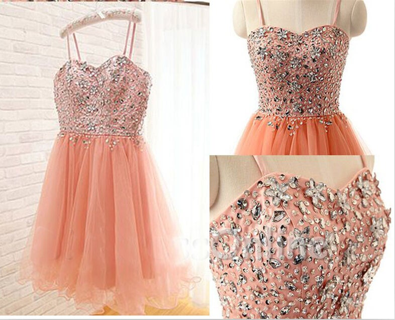 Cute Pink Tulle Beaded Short Prom Dress with Straps, Homecoming Dresses