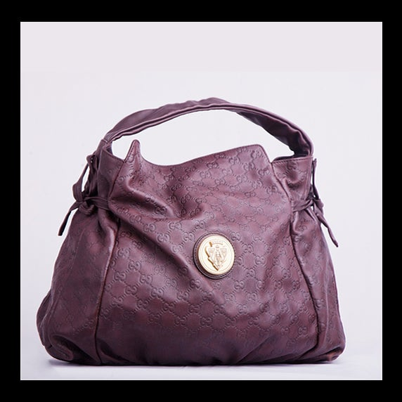 Image of Gucci Hysteria Chocolate Guccissima Leather Handbag